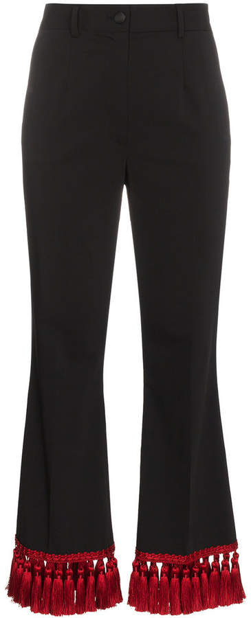 Dolce & Gabbana cropped kick flare tasselled trousers