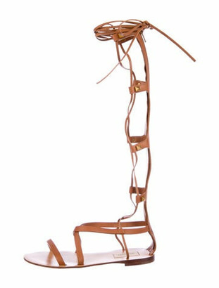 Valentino Rockstud Accents Leather Gladiator Sandals Brown