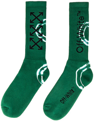 Off-White Tie Dye Mid Length Socks in Dark Green & Black | FWRD