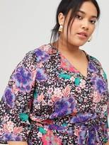 V By Very Curve Boho Floral Midi Dress - Print