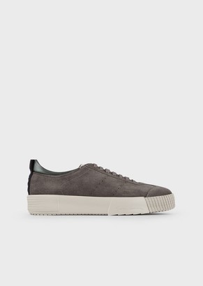 Giorgio Armani Suede Sneakers With Logo On The Heel