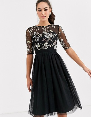 Little Mistress skater dress with embroidery detail-Black