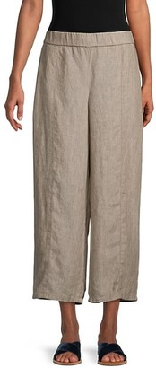 Eileen Fisher Washed Organic Linen Delave Cropped Pants