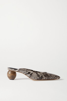 Cult Gaia Alia Snake-effect Leather Mules - Snake print