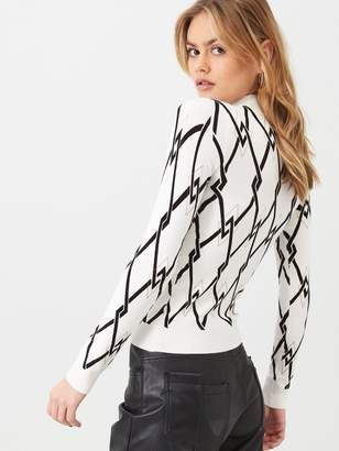 River Island Mono Print Button Detail High Neck Knitted Top- Cream