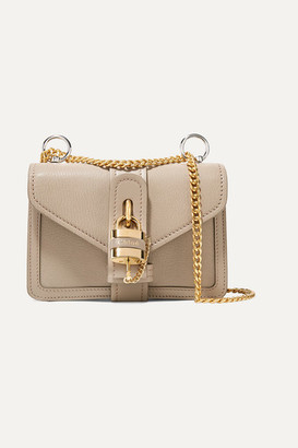 Chloé Aby Chain Mini Textured And Smooth Leather Shoulder Bag - Taupe
