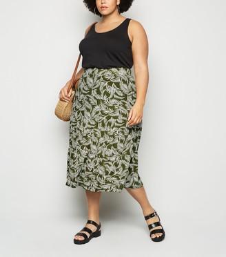 New Look Blue Vanilla Curves Leaf Midi Skirt