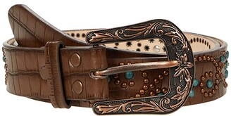 M&F Western 1.5 Gator Embossed w/ Stud Accent Belt (Brown/Copper/Patina) Women's Belts