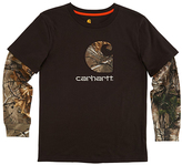 Carhartt Mustang Brown & Realtree Xtra® Layer-Sleeve Graphic Tee - Boys