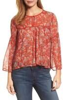 Lucky Brand Women's Floral Print Bell Sleeve Top