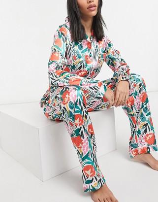 NIGHT floral print satin shirt and pants pyjama set in pink and orange