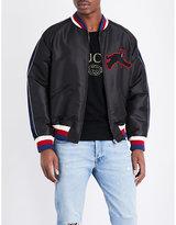Gucci Panther-appliqué Silk-blend Bomber Jacket