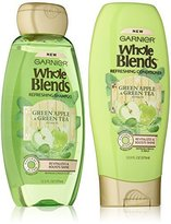 Garnier Whole Blends Haircare - Refreshing Shampoo & Conditioner Set - With Green Apple & Green Tea Extracts - Net Wt. 12.5 FL OZ (370 mL) Per Bottle - One Set
