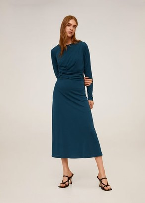 MANGO Ruched detail dress petrol blue - 4 - Women