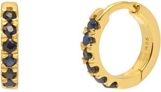 Northskull Blue Sapphire Hoop Earrings In Gold