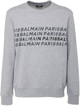 Balmain Logo Print Cotton Jersey Sweatshirt