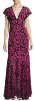 Milly Deni Floral-Print Chiffon Maxi Dress, Pink