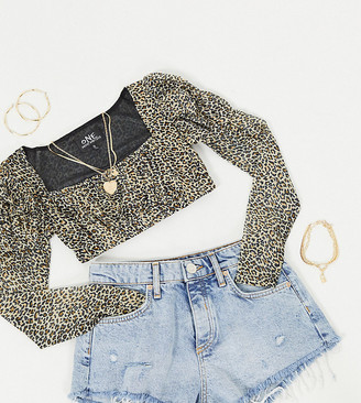 One Above Another milkmaid top with volume sleeves in leopard mesh