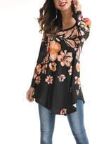 Reborn Collection Women's Tunics Orange - Orange & Black Floral U-Neck Tunic - Women