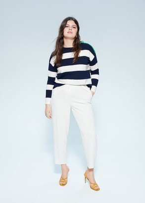 MANGO Violeta BY Buttoned striped sweater blue - S - Plus sizes