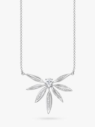 Thomas Sabo Magic Garden Cubic Zirconia Leaf Chain Necklace, Silver