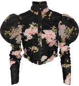 Alessandra Rich - Ruched Floral-print Stretch-silk Blouse - Black