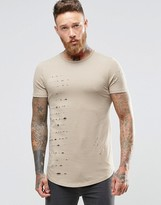 Asos Longline Muscle T-Shirt With Speckle Distress And Curved Hem In Beige