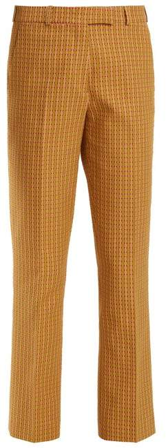 Etro Violante Geometric Pattern Stretch Cotton Trousers - Womens - Green Multi