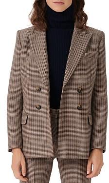 Maje Veling Houndstooth Wool Blend Blazer