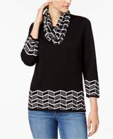 Alfred Dunner Talk of the Town Sweater with Removable Patterned Scarf