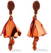 Oscar de la Renta Mini Impatiens Beaded Clip Earrings - Copper