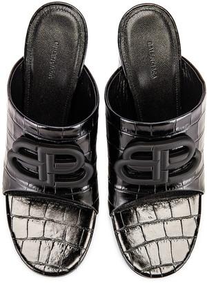 Balenciaga Croc Oval BB Sandals in Black & Black | FWRD
