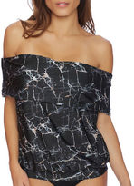 Luxe by Lisa Vogel Rock Solid Printed Off-The-Shoulder Tankini