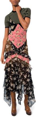 Michael Kors Floral-Patchwork Chiffon Ruffled Maxi Dress