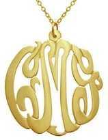 """7/8"""" Personalized Script Pendant w/ Chain, Sterling/Plated"""