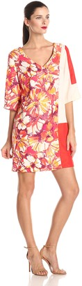Donna Morgan Women's V-Neck Printed and Color Block Shift Dress
