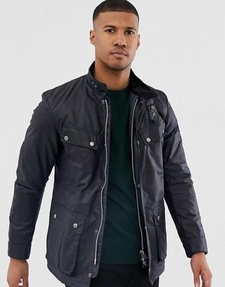 Barbour International Duke slim fit wax jacket navy