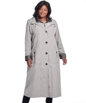 Gallery Plus Size Hooded Long Rain Jacket