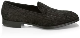 Giorgio Armani Woven Texture Leather Loafers