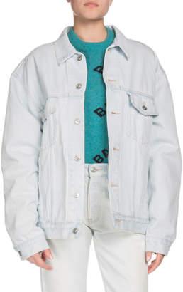 Balenciaga Embossed-Logo Button-Down Denim Jacket