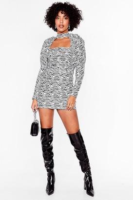 Nasty Gal Womens Zebra Long Sleeve Cut Out Mini Dress - Black
