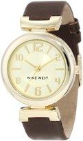 Nine West Women's NW/1262CHBN Gold-Tone Brown Strap Watch