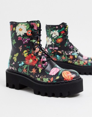 Lamoda chunky lace up boots in dark floral