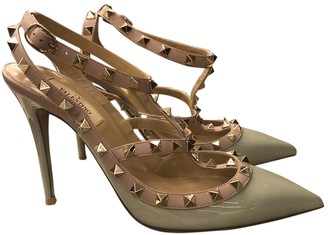 Valentino Rockstud Green Patent leather Heels