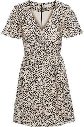 Rebecca Vallance Anya Printed Ruffled Washed-crepe Mini Wrap Dress