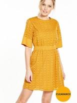 Warehouse Broderie Dress - Yellow