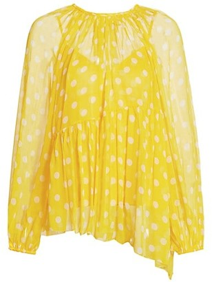 Zimmermann Brightside Polka Dot Swing Blouse