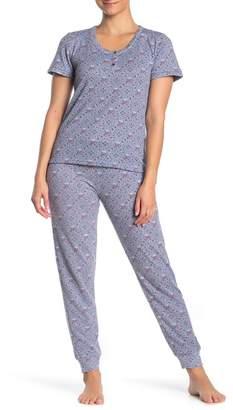 Lucky Brand Hacci Short Sleeve Top & Joggers Pajama 2-Piece Set