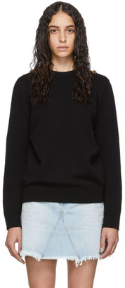 Givenchy Black Wool Fantasy Button Crewneck