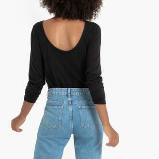 La Redoute Collections Cotton Low-Back T-Shirt with Long Sleeves